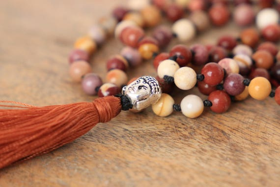 BUDDHA MALA NECKLACE - 108 bead - Crystal necklace - Prayer beads - Mandala - Yoga necklace - Tassel - Spiritual - Mindful - Mookaite - Gem