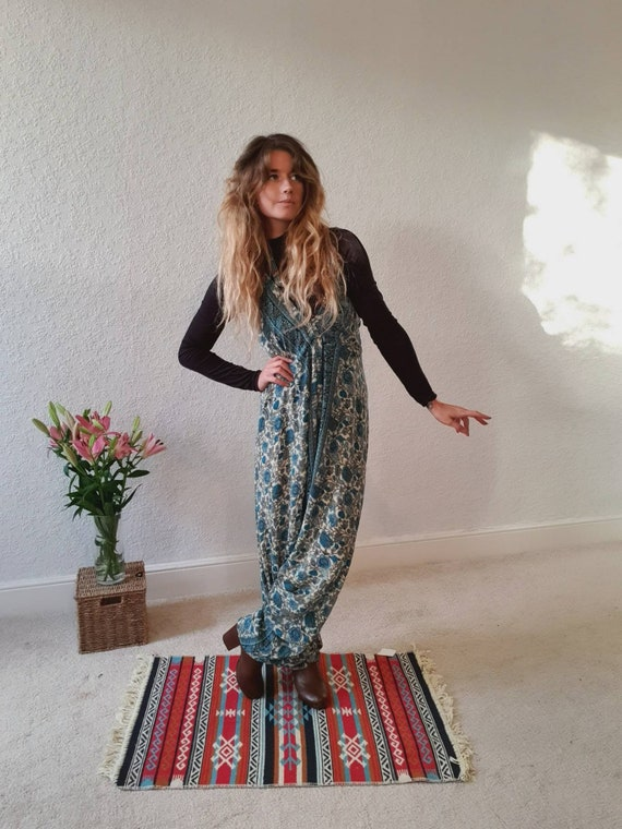 PAISLEY BLUE HAREM - Super Soft Silk - Playsuit - Vintage - Harem - 70's - 60's - Hippie - Halterneck - Backless - Ruby Sparrow Jumpsuit