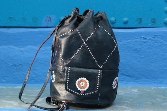 BLACK VINTAGE BAG - Leather over shoulder bag - Duffle bag - Aztec - Bohemian - Tribal - Duffle - Satchel - Bespoke - Autumn - 70's - 60's
