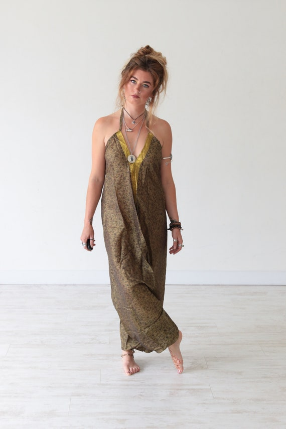 GOLD TRIM JUMPSUIT - Fall - Autumn - Winter - Summer Wedding - Earthy Vintage Silk - Hippie Halterneck Dress - Re-worked sari playsuit