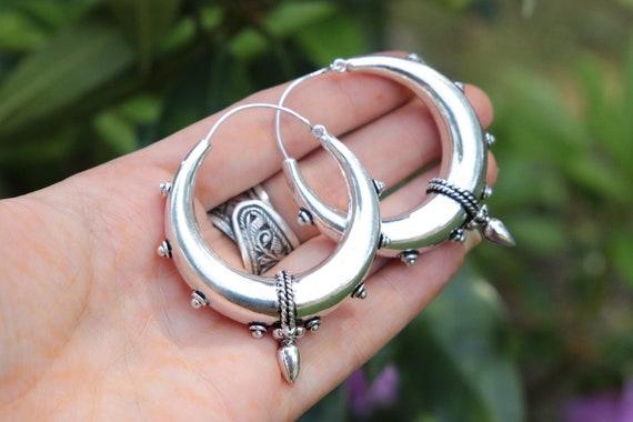 XL TRIBAL EARRINGS - Vintage inspired earrings  - Silver Earrings - Silver Plated - Gift - Spike earrings - Festival - Gypsy Earrings
