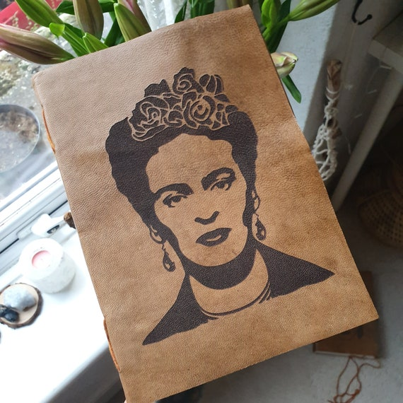 FRIDA KHALO JOURNAL - Vintage Leather Notebook - Sketch Book - Photo Album - Laser cut - Icon - Memory Book - International Women's Day Gift