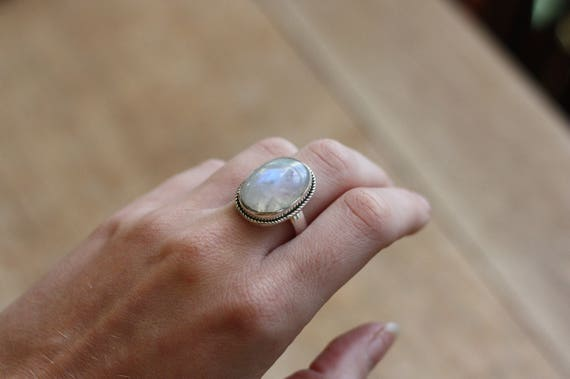 MAGIC MOONSTONE RING - One size - Sterling silver ring - Moon Jewellery - Statement Ring - Crystal - Gemstone - Semi Precious - Birthstone