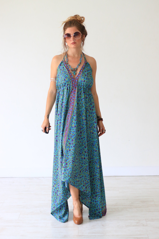 Floral Maxi Dress Summer Dress Vintage Style Sari Dress