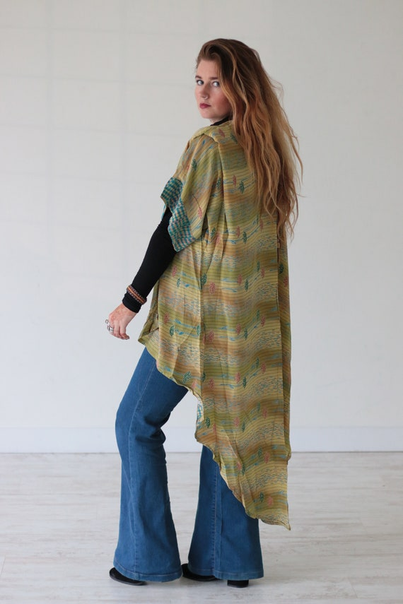 SUNSHINE INDIAN KIMONO - Waterfall - Beach Cover Up - Cardigan - Summer - Gold - Kaftan - Maxi Dress - Stevie Nicks - 70s Fashion - Festival