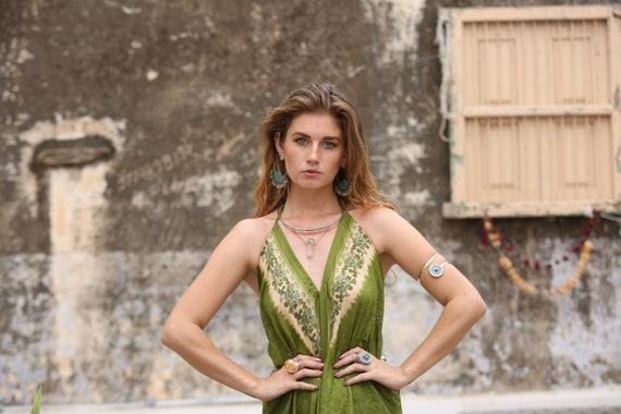 GREEN DREAM JUMPSUIT - Summer - Wedding - Festival - Handmade - Vintage - Hippie - Backless - Couture - Up cycle - All in one - Harem - Sun