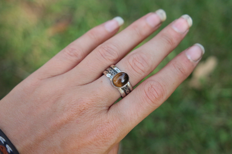 TIGER EYE RING - Adjustable - Thin 925 Silver - Hammered Ring ...