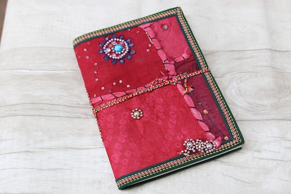PINK BOHOEMIAN JOURNAL - Indian sari notebook - Rainbow notebook - Student - Back to school - Sketch book - Handmade paper - Natural paper