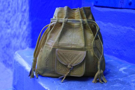 BRIGHT YELLOW HANDBAG - Shoulder bag -  Hand tooled - Satchel - Bespoke - Autumn Fashion - Fall - Bohemian - Hippie - Leather Stamped bag