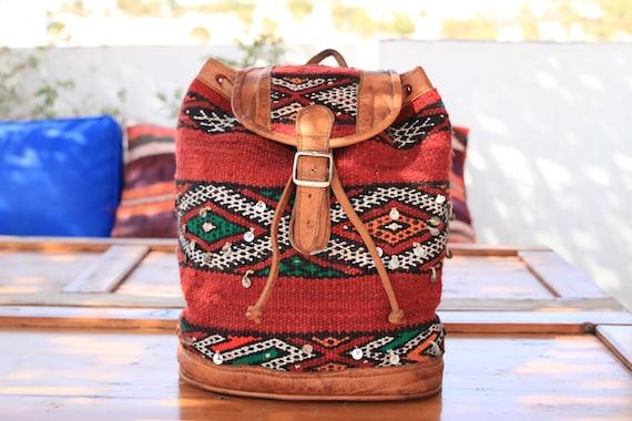 VINTAGE KILIM RUCKSACK - Embroidered ethnic bag - Hippie rucksack - Boho Backpack - Aztec rucksack - Moroccan - Leather Carpet bag - Gift