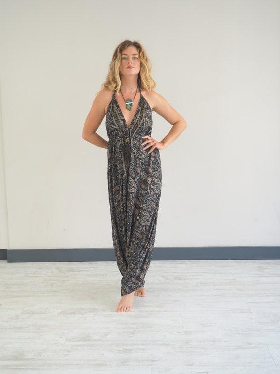 BLACK HAREM JUMPSUIT - Romper - Super Soft Silk - Playsuit - Vintage Style - Backless Dress - Aladdin Pants - Thai pants - Boho Overalls