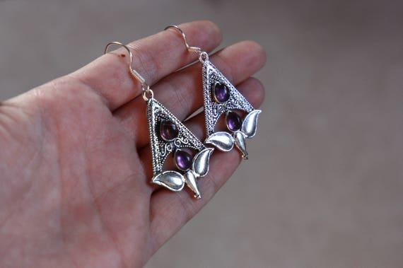 AMETHYST TULIP EARRINGS - Oxodised Silver Earrings - Amethyst - Healing Crystal Jewellery - Chakra Earrings - Vintage - Gemstone