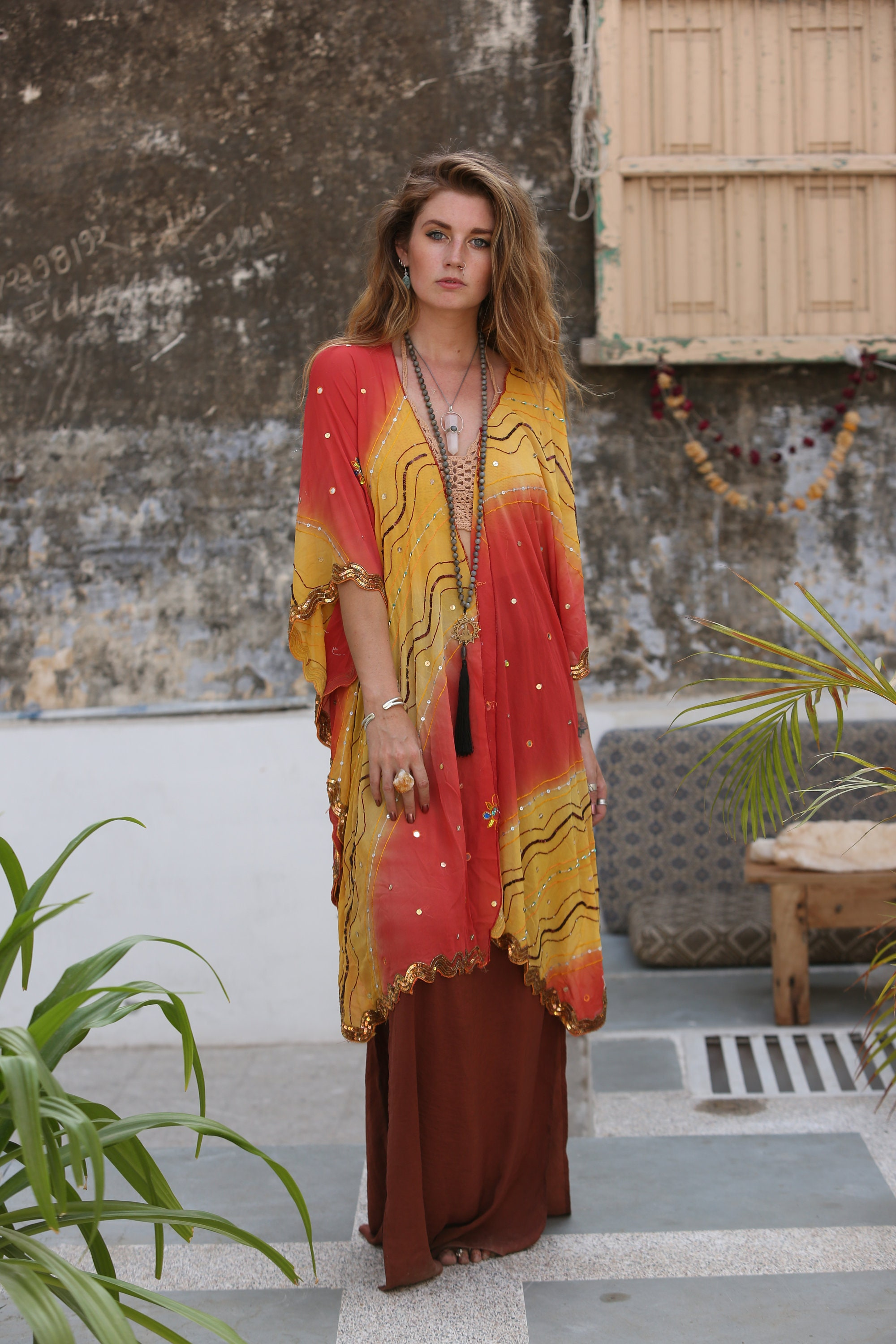 fb01f47450 INDIAN SEQUIN KIMONO - Embellished - Vintage - kaftan - Festival ...