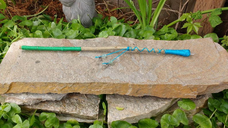 Crystal tipped green and blue pomegranate wood wand