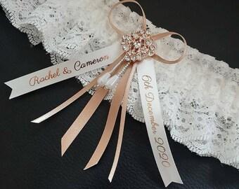 Ivory Garter Wedding Garter Garter Embroidered Garter Save the date Personalized Garter Pink Garter Lace Garter Custom Garter