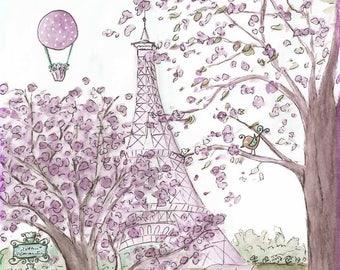 Vintage French Eiffel Tower Nursery Print, Purple Lavender Shabby Chic Paris Bedroom Decor, Paris Theme Baby Gift, 6 Sizes 5x7 to 24x 36