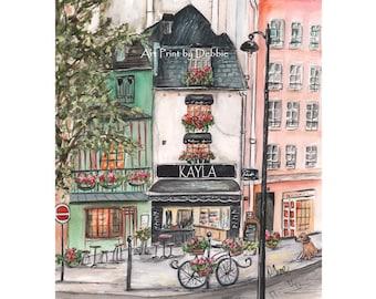 Paris Bedroom Decor, French Patisserie Watercolor Print, Odette Paris, Paris France Pastry Shop Black White, 6 Sizes - 5x7 to 24x36 Poster