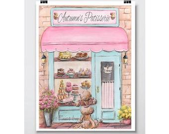 "Paris Bedroom Decor, Personalized Wall Art For Paris Themed Baby Shower, Laduree, Paris Nursery, Custom Name Nursery Print, 5x7 to 24x36"""