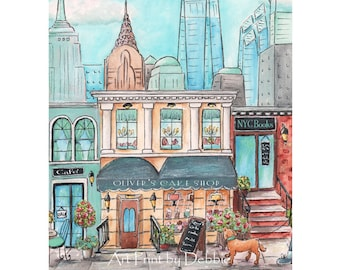 New York City Themed Nursery Print Personalized With Child's Name, Travel Theme Nursery NYC Boys Room, 6 sizes 5x7 to 24x36 New York Poster