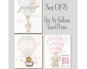 Little Traveler Adventure Wall Art, Set Of 3, Pink Hot Air Balloon Nursery Prints, Personalized Custom Girls Name, Giraffe, Lion, Elephant