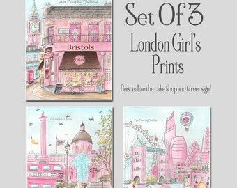 Pink London Girl Decor, Set Of 3 Prints, Personalized Cake Shop, Trafalgar Square, London Skyline, Baby Girl Nursery Travel Themed Wall Art