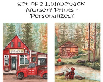Woodland Log Cabin Nursery Art, Lumberjack Nursery Buffalo Plaid Wall Decor, Personalized Set Of 2, Boy Fishing With Dog, Vintage Red Truck