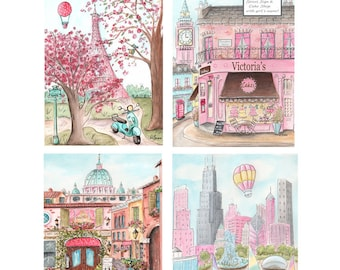Travel Theme Nursery Prints, Set Of 4 - London, Rome, Paris, Chicago, Personalized, Girls Bedroom Travel Decor Pink, 6 Sizes 5x7 to 24x36