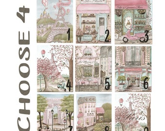 Paris Bedroom Decor, Personalized, Choose 4 Prints, Set Of 4, Vintage Blush Pink Baby Girl Travel Themed Nursery, 6 Sizes 5 x 7 to 24 x 36