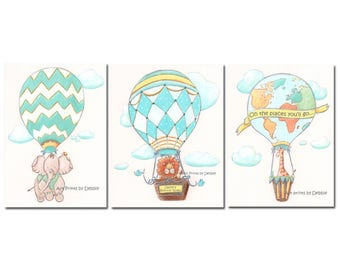 Personalized Hot Air Balloon, Nursery Wall Art Decor, Safari Jungle Baby Animals, Custom Name, Set Of 3, Yellow, Teal, Blue, Green, Gray