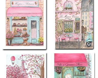 Pink Paris Nursery Decor, Set Of 4 Unframed Prints For Girls French Baby Nursery, Personalized Baby Art, 6 Sizes, Girl Baby Shower Gift
