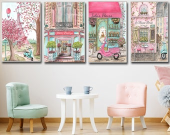 Personalized Paris Prints For Girls French Themed Bedroom, 4 Posters, Pink Parisian Boutique Cafe Flower Shop Eiffel Tower, Baby Shower Gift