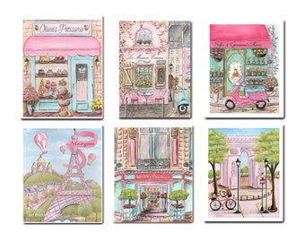 Paris Bedroom Decor, Baby Girl Nursery Travel Set Of 6 Prints, Pink Paris Theme, Personalize Girls Name, Cafe, Eiffel Tower, Arc De Triomphe
