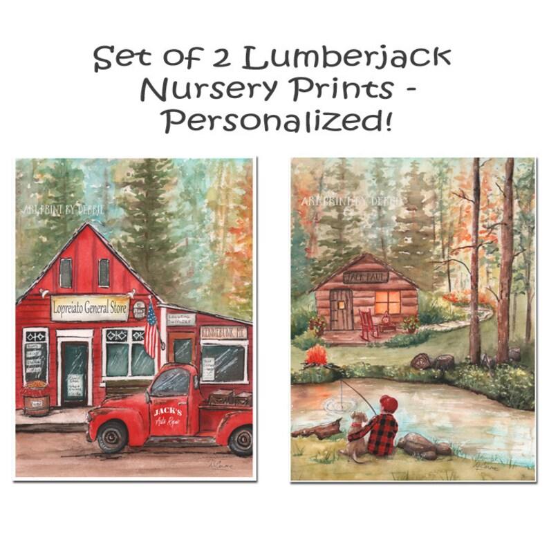 Personalized Pickup Truck Vintage Red, Custom Names, Lumberjack Buffalo  Plaid Wall Decor Nursery Art, Set Of 2 Prints, Boy Fishing With Dog