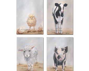 Farm Animal Prints Set Of 4, Baby Farm Animal Nursery Wall Art, Chick Cow Sheep Pig, Modern Kitchen Farmhouse Decor, 6 Sizes, Gender Neutral