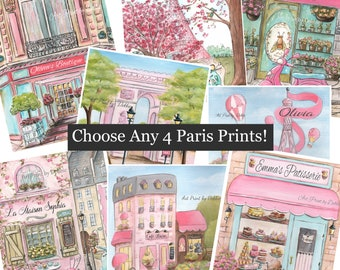 Choose 4 Cute Pink French Pictures, Personalized Paris Watercolor Reproduction Prints, Customize Girls Name and Choose Font, 5x7 to 24x36