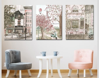 Paris Vintage French Nursery Set Of 3, Personalized Cafe And Patisserie, Blush Pink Gray Bedroom Decor, Shabby Chic Canvas Art, Eiffel Tower