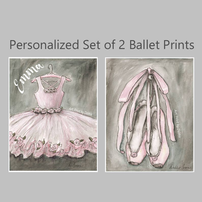 Dancing Ballerina Unframed Fine Art Print For Girls Room Ballet Print Pink Personalize Girls Name And Hair Color 5 x 7 to Poster 6 Sizes