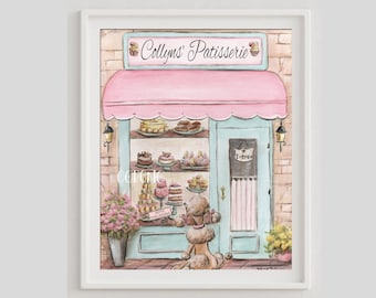 Cute Paris Patisserie Print Or Canvas Of Laduree Watercolor Painting, Personalized With Baby Girls Name, Macarons French Poodle Pastries