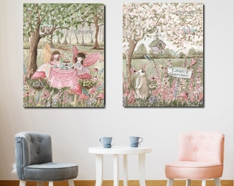 Fairytale Art, Set Of 2 Prints, Baby Girl Personalized Gift For Fairy Party, Tea Party Birthday, Tea For Two, Blush Pink Pastel Print, Bunny