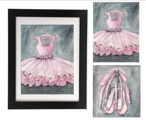 Personalize Ballet Studio With Girls Name /& Hair Color Set Of 3 Vintage Blush Pink Ballet Canvases Ballerina Dancer Canvas Wall Art 5 Sizes 8x10 to 24x36 Poster