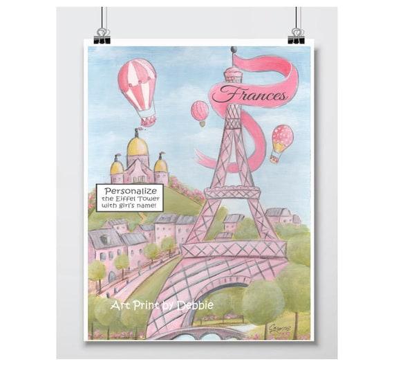 Pink Eiffel Tower Paris Themed Baby Shower Gift Idea Custom Baby Name Paris Bedroom Decor Personalized Paris Decor 6 Sizes 5x7 To 24x36