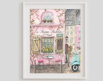 Montmartre Print, La Maison Rose Watercolor Paris Poster, French Rooftops, Travel Wall Art, Pink Girls Room Decor Personalized Baby Name