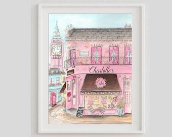 Personalized London Cake Shop Watercolor Print, London Girls Bedoom Decor, Big Ben, Peggy Porschen, Custom Baby Name Pink Bakery Wall Art