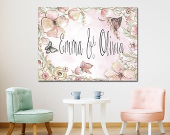 Personalized Floral Butterfly Nursery Decor, Canvas Wall Art, Nursery Baby Girl Name Sign To Go Over Crib, Dusty Blush Pink Nursery Canvas