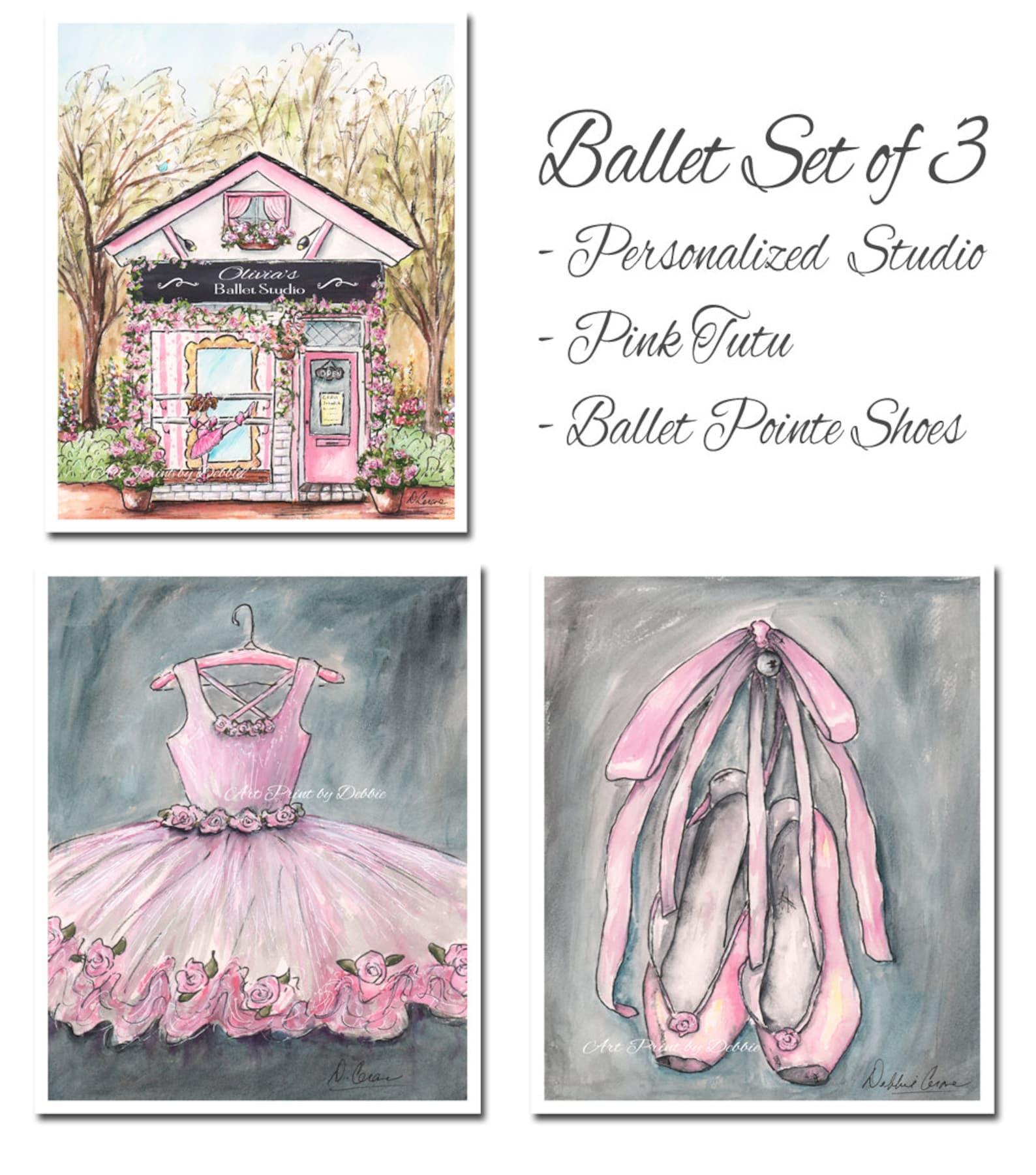 pink ballerina decor, ballet pointe shoes, pink ballet slippers, ballerina art, dancer, ballerina watercolor print, unframed fin