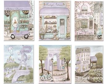 Personalized Paris Bedroom Decor, Set Of 6, Vintage Shabby Chic Parisian Girl's Bedroom Wall Art, Purple Paris Decor, 6 Sizes 5x7 to Poster
