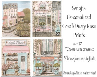 Coral Nursery Wall Art, Shabby Chic Dusty Rose Girls Bedroom Decor, Set Of 4 Prints, Personalized Custom Name Gift For Girl Who Loves Paris