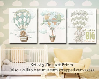 Little Traveler Wall Art Set Of 3 Hot Air Balloon Nursery Prints Personalized Boys Name, Dream Big, Oh The Places, Giraffe, Lion, Elephant