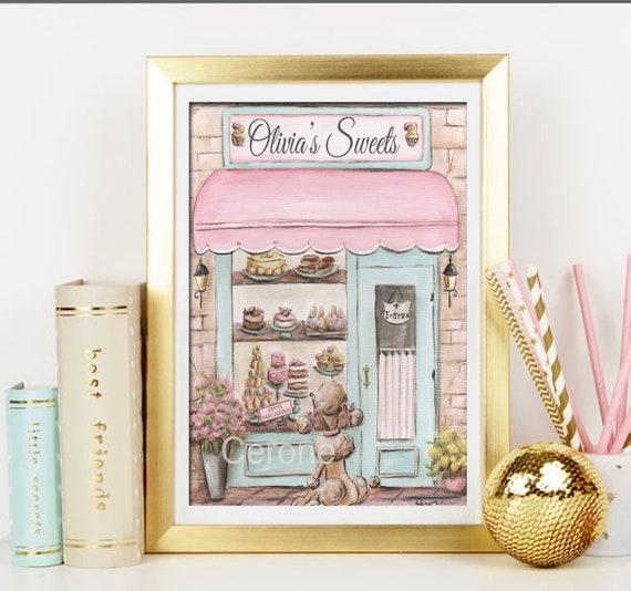 Girls Bedroom Wall Art, Personalized Blush Pink Vintage Nursery Decor  Bakery Theme Unframed Print - 5x7 to 24x36 Poster, Paris Bedroom Decor