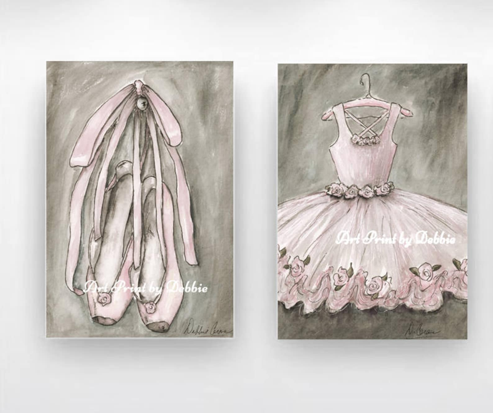 girls room decor blush ballerina set of 2, girls ballet prints, ballerina art, blush pink nursery ballerina decor, 6 sizes 5x7 t